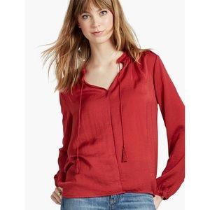 5/$25 Lucky Brand Fringe Neck Long Sleeve Blouse